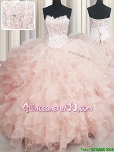 Great Visible Boning Scalloped Sleeveless Floor Length Beading and Ruffles Lace Up Quinceanera Dresses with Peach