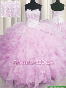 Nice Visible Boning Scalloped Lilac Sleeveless Organza Lace Up Sweet 16 Quinceanera Dress forMilitary Ball and Sweet 16 and Quinceanera