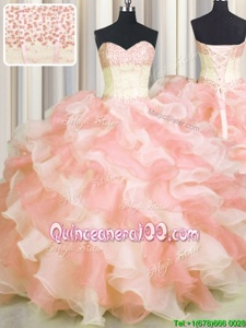 Edgy Visible Boning Two Tone Multi-color Quinceanera Gowns Military Ball and Sweet 16 and Quinceanera and For withBeading and Ruffles Sweetheart Sleeveless Lace Up