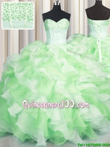 Latest Visible Boning Two Tone Multi-color Sleeveless Organza Lace Up Quinceanera Gown forMilitary Ball and Sweet 16 and Quinceanera