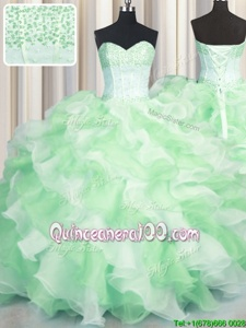 Glittering Visible Boning Two Tone Beading and Ruffles 15th Birthday Dress Multi-color Lace Up Sleeveless Floor Length