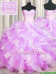 Fine Visible Boning Two Tone Sleeveless Lace Up Floor Length Beading and Ruffles Ball Gown Prom Dress