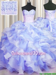 Decent Two Tone Visible Boning Multi-color Organza Lace Up 15 Quinceanera Dress Sleeveless Floor Length Beading and Ruffles