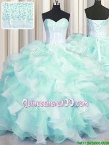 Smart Two Tone Visible Boning Sweetheart Sleeveless Organza Quinceanera Dress Beading and Ruffles Lace Up
