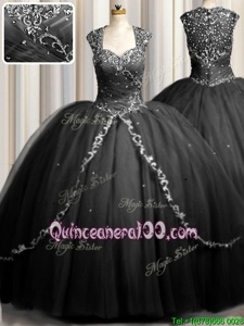 High Class Zipple Up Black Tulle Zipper Ball Gown Prom Dress Cap Sleeves Brush Train Beading and Appliques