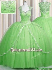 Custom Fit See Through Cap Sleeves Brush Train Zipper With Train Beading and Appliques 15th Birthday Dress