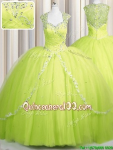 Nice Zipper Up Brush Train Yellow Green Cap Sleeves With Train Beading and Appliques Zipper Quince Ball Gowns