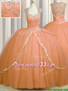Suitable See Through Back Brush Train Orange Ball Gowns Beading and Appliques Quinceanera Dresses Zipper Tulle Cap Sleeves With Train