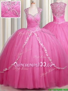 Custom Designed Zipper Up Rose Pink Ball Gowns Tulle Sweetheart Cap Sleeves Beading and Appliques With Train Zipper Sweet 16 Dresses Brush Train