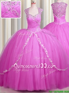 Romantic See Through Hot Pink Tulle Zipper Ball Gown Prom Dress Cap Sleeves With Brush Train Beading and Appliques
