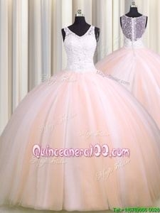 Discount See Through Back Zipple Up Baby Pink and Peach Tulle Zipper V-neck Sleeveless Quinceanera Gowns Brush Train Beading and Appliques