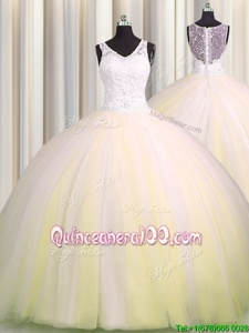 Attractive Zipple Up V Neck Sleeveless Beading and Appliques Zipper Quinceanera Gowns with Light Yellow Brush Train