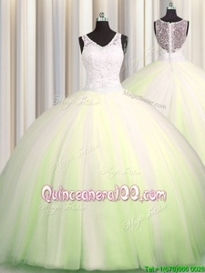 Affordable Zipple Up Big Puffy Tulle V-neck Sleeveless Brush Train Zipper Beading and Appliques Quinceanera Gowns inYellow Green