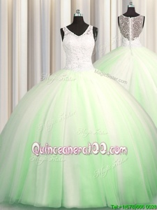 Sexy See Through Zipple Up Spring Green V-neck Zipper Beading and Appliques Sweet 16 Dresses Brush Train Sleeveless