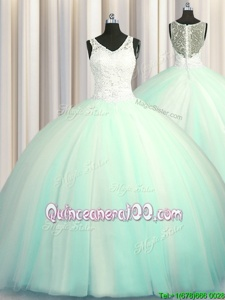High Class Big Puffy Zipper Up Sleeveless Brush Train Zipper With Train Beading and Appliques Sweet 16 Quinceanera Dress
