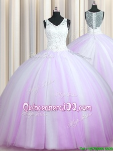 V Neck Zipper Up With Train Lilac 15th Birthday Dress Tulle Brush Train Sleeveless Spring and Summer and Fall and Winter Beading