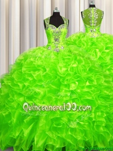 Unique Pick Ups Zipper Up See Through Back Beading Sweet 16 Dresses Spring Green Zipper Sleeveless With Brush Train