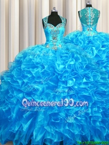 Fabulous Zipper Up See Through Back Organza Straps Sleeveless Zipper Beading and Ruffles Sweet 16 Dresses inBaby Blue