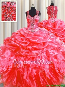 Customized Pick Ups Zipper Up See Through Back Beading and Ruffles Sweet 16 Dress Coral Red Zipper Sleeveless Floor Length Sweep Train