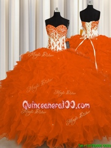 Adorable Orange Lace Up Sweetheart Appliques and Ruffles Quince Ball Gowns Organza Sleeveless