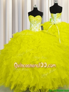 Smart Sweetheart Sleeveless Quinceanera Dress Floor Length Appliques and Ruffles Yellow Organza