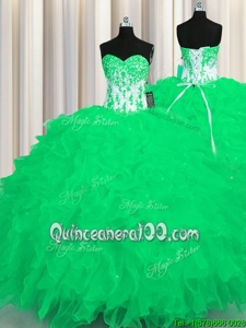 Elegant Turquoise Lace Up 15 Quinceanera Dress Appliques and Ruffles Sleeveless Floor Length