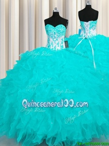 Traditional Aqua Blue Sweetheart Neckline Appliques and Ruffles Ball Gown Prom Dress Sleeveless Lace Up