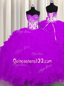 Purple Ball Gowns Organza Sweetheart Sleeveless Appliques and Ruffles Floor Length Lace Up Quinceanera Gowns