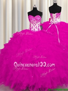 Fuchsia Sleeveless Floor Length Appliques Lace Up Vestidos de Quinceanera