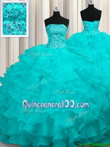 Enchanting Aqua Blue Sweet 16 Dress Military Ball and Sweet 16 and Quinceanera and For withBeading and Ruffles Strapless Sleeveless Sweep Train Lace Up