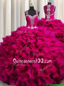 Dazzling Zipple Up See Through Back Floor Length Fuchsia Sweet 16 Dresses Straps Sleeveless Zipper