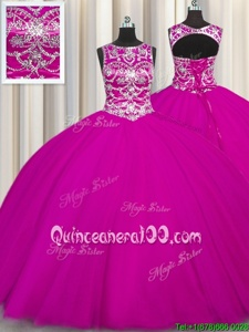 Stylish Fuchsia Scoop Lace Up Beading and Appliques 15th Birthday Dress Sleeveless