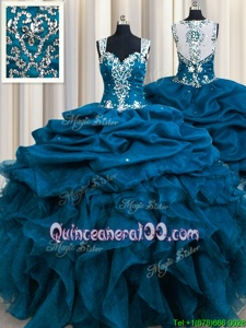 Elegant Zipple Up Sequins See Through Back Ball Gowns Quinceanera Gowns Teal Straps Organza Sleeveless Floor Length Zipper