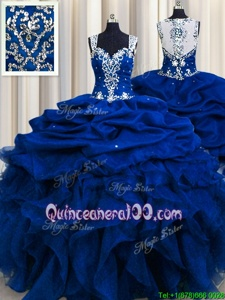 Sexy Zipple Up See Through Back Royal Blue Ball Gowns Beading and Ruffles and Sequins and Pick Ups Quinceanera Gown Zipper Organza Sleeveless Floor Length