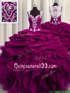 Fashionable Sequins See Through Back Ball Gowns Ball Gown Prom Dress Fuchsia Straps Organza Sleeveless Floor Length Zipper