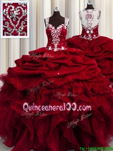 Great See Through Straps Sleeveless Quinceanera Gowns Floor Length Beading and Ruffles and Sequins Wine Red Organza