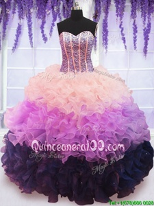 On Sale Sweetheart Sleeveless Ball Gown Prom Dress Floor Length Beading and Ruffles and Ruffled Layers Multi-color Organza