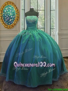 Sumptuous Sequins 15th Birthday Dress Teal Lace Up Sleeveless Floor Length