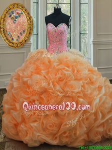 Elegant Floor Length Lace Up Quinceanera Gowns Orange and In forMilitary Ball and Sweet 16 and Quinceanera withBeading