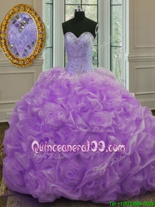 Free and Easy Lavender Organza Lace Up Quince Ball Gowns Sleeveless Sweep Train Beading