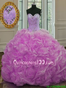 Lilac Ball Gowns Beading and Pick Ups Vestidos de Quinceanera Lace Up Organza Sleeveless