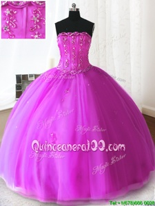 Simple Fuchsia Tulle Lace Up Strapless Sleeveless Floor Length 15 Quinceanera Dress Beading and Appliques