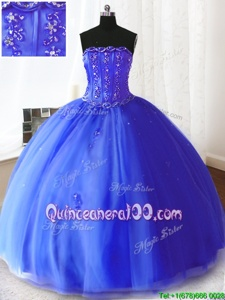 Suitable Floor Length Royal Blue Sweet 16 Dresses Strapless Sleeveless Lace Up