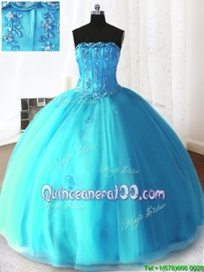 Deluxe Sleeveless Beading and Appliques Lace Up Quinceanera Dress