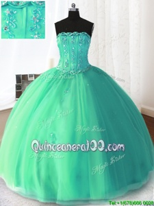 New Style Turquoise Ball Gowns Tulle Strapless Sleeveless Beading and Appliques Floor Length Lace Up Sweet 16 Dress