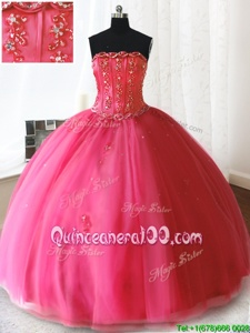 Unique Ball Gowns Sweet 16 Dresses Hot Pink Strapless Tulle Sleeveless Floor Length Lace Up
