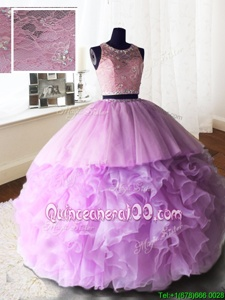 Fashion Lilac Zipper Scoop Beading and Lace and Ruffles Sweet 16 Dress Organza and Tulle and Lace Sleeveless Brush Train