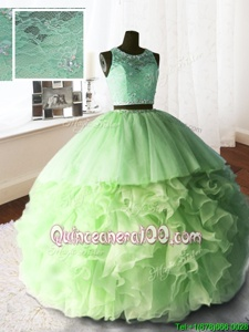 Great Scoop Spring Green Sleeveless Organza and Tulle and Lace Brush Train Zipper Sweet 16 Dresses forMilitary Ball and Sweet 16 and Quinceanera