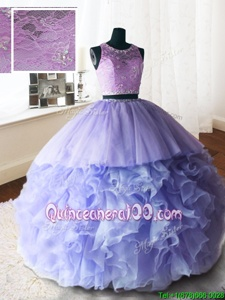 Fabulous Lace With Train Lavender Ball Gown Prom Dress Scoop Sleeveless Brush Train Zipper