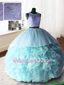 Pretty Scoop Lace With Train Ball Gowns Sleeveless Baby Blue Quinceanera Dresses Brush Train Zipper